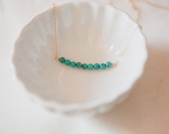 Delicate Turquoise Necklace , Genuine Turquoise Necklace on Gold fill Chain