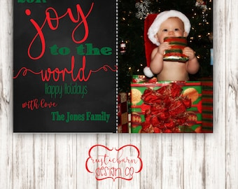 Holiday Rustic, Vintage, Christmas Photo Card-5x7 Custom Invitation- Digital Download/PRINTABLE - Red and Green
