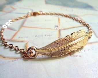 Rose gold tone bracelet Feather