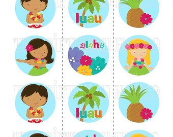 INSTANT DOWNLOAD - PRINTABLE Luau Party Rounds -Assorted Surfer Boy and Hula Girl Cupcake Toppers by The Birthday House