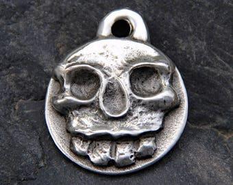 Dog ID Tag - Skull Dog Collar Tag - Hand Stamped Dog Tag - Pet ID Tag - Pet Collar Tag - Pet Name Tag - Personalized Pet Tag