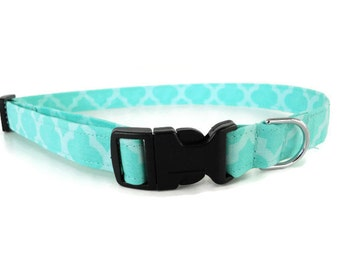 Teal quatrefoil dog collar, teal collar, seafoam green cat collar, spring pet collar, cute quatrefoil dog collar, two tone teal collar