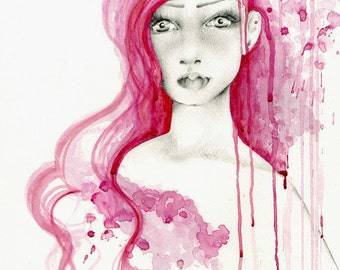 Original Watercolor Painting Hand Painted Hand Drawn Work of Art One of a Kind Watercolor Painting of a Girl Watercolour Painting Pink Paint