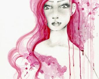 Original Aquarell handgemalte handgezeichnete Kunstwerk ein von einer Art Aquarell Malerei von einem Mädchen Aquarell Malerei rosa Farbe