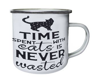 Time Spent With Cats Is Black Retro,Tin, Enamel 10oz Mug t364e