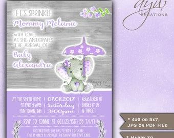 Baby Sprinkle Invitations Elephant Girl Umbrella Baby Sprinkle Elephant Baby Sprinkle Invitations Printable Invites Rustic Wood Watercolor