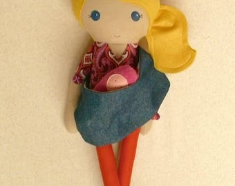 Fabric Doll Rag Doll 20 Inch Blond Girl in Purple and Pink Top with Denim Sling and Baby
