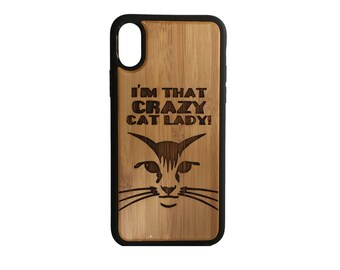 Cat iPhone Case Cover for iPhone X by iMakeTheCase Bamboo Wood Cover+TPU Wrapped Edges I'm That Crazy Cat Lady! Kitten Lover Gift Kitty Face