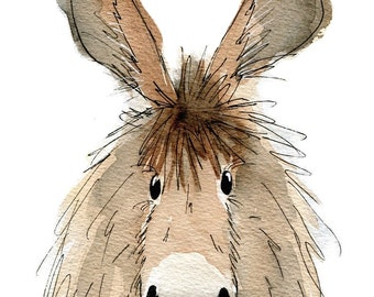 Limited edition print - Dennis the donkey, donkey print, donkey art