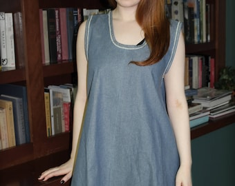 Swing Dress Cotton Chambray - with Selvage edge trim