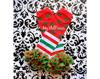 Ready to ship- CHRISTMAS LEG WARMERS, baby girl leg warmers, girls leg warmers, chiffon ruffle leg warmers, red and white