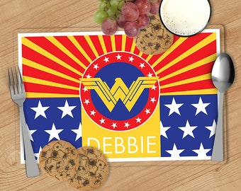 Wonder Woman -  Kids Personalized Placemat, Customized Placemats for kids, Kids Placemat, Personalized Kids Gift