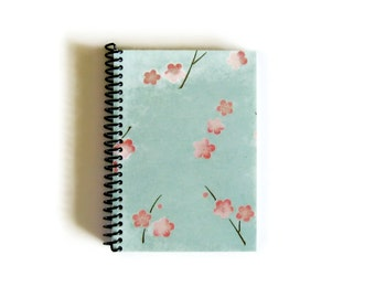 Cherry Blossoms Notebook A6 Spiral Bound - Mint Green, Blank Pocket Sketchbook, 4x6 Inches, Writing Diary Journal, Draft, Gifts Under 20