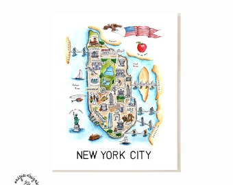 New York City Map Art Print - Watercolor