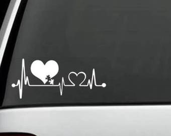 2 pcs AUTISM heartbeat love choose your size my superhero car bumper Sticker Decal  Window truck locker helmet