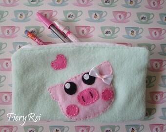 Cute Piggy Pencil Pouch, Zippered Pouch, Makeup Pouch, Cute Pig