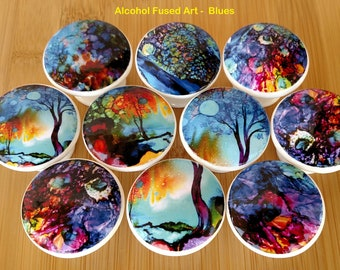 Alcohol Fused Wood Drawer Knobs Blue and Coral Wood Drawer Knobs Pull Dresser Wood Knob