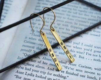 Censored Swear Earrings- Cartoon Swear Word Jewelry- Brass Tag Earrings- Grawlixes Profanitype Symbol Swearing Jewelry