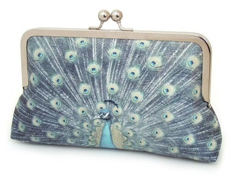 Clutch bag, silk purse, peacock wedding, teal, green, blue, bridesmaid gift, PEACOCK