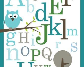 Set of 3 Nursery Art Prints- Owls (turquoise blue)