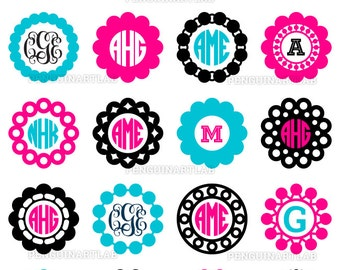 Circle Monogram Frames - Professionally Designed SVG Cut Files for Electronic Cutting Machines, Cricut, Silhouette, Screen Printing