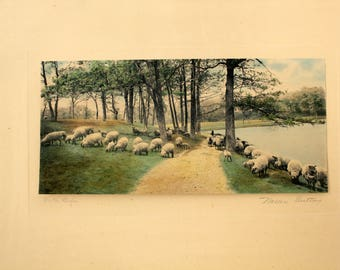 Wallace Nutting Hand Colored Photo Print, On The Slope, Signed Sheep by Lake Path