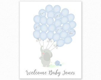 Baby Shower Signature Guest Book, Elephant Baby Shower, Personalized Alternative Guest Book, Nursery Art Signature Tree, Elephant and Birds