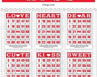 digital vintage style valentine bingo cards dark red and