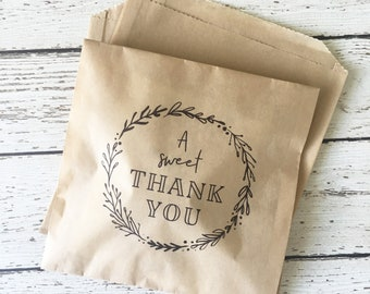 Wedding Favor Bag, Wedding Treat Bag, Cookie Favor Bag, Donut Favor Bag, Thank You Favor Bag, A Sweet Thank You Favor Bag, Set of 10, 25, 50