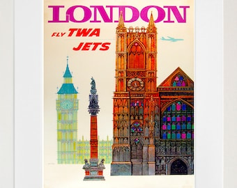 London Vintage Travel Poster Wall Art Print (ZT425)