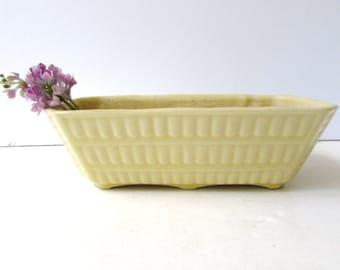 Vintage Yellow Glaze Ceramic Planter -  Mid Century Modern - Unmarked - Soft Butter Yellow Planter -