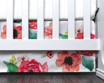 "Crib skirt. 3 sided 7"" 10"" 13"" 16"" drop crib skirt. Coral Floral watercolor flowers roses pink blush coral peach spring. Baby girl (#0200)"