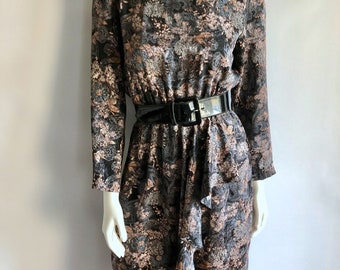Vintage Women's 80's Dress, Polyester, Long Sleeve by Willi (M)