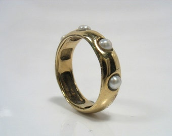 Classic yellow  smooth gold band with white pearls, engagement ring-The Pearls of Lord
