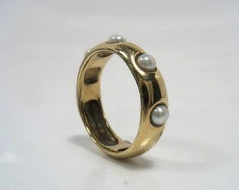 Klassische gelbe glatt gold Band mit weißen Perlen, Verlobungsring-The Lord