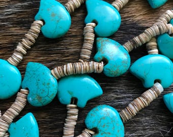 Sale-Vintage Zuni Style Bear Fetish Necklace - Heishi Shell, Siver and Turquoise-Powerful (Sale Was 60.00)