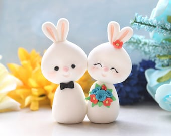 Unique Bunny wedding cake toppers - bride and groom figurines custom rabbit elegant rustic country blue coral red cute funny farm animals