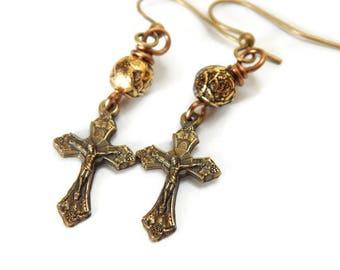 Gold Crucifix Earrings - Christian Earrings - Catholic Earrings - Christian Gift for Her - Religious Jewelry - Dangle Drop Gold Earrings