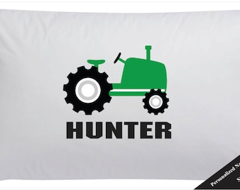Boys Personalized Green Tractor Pillow Case Green Farm Tractor Pillowcase