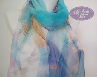 """foulard étole peint à la main sur soie bleu,foulard motif """"Night and day"""",écharpe en mousseline de soie, cadeau pour elle"""
