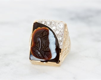 Antique Cameo Ring, 1930s Diamond and Carved Agate, 10k Yellow Gold Jewelry, Unique Gemstone Statement Ring, Mens Art Deco Ring, Size 8.75