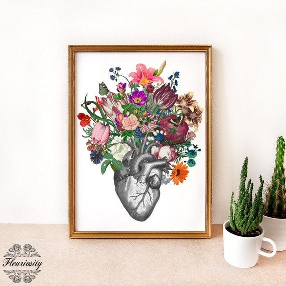 Anatomical heart and flowers heart art print floral heart
