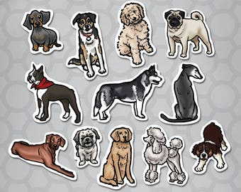 Illustrated Dogs Die Cut Sticker 12 Pack
