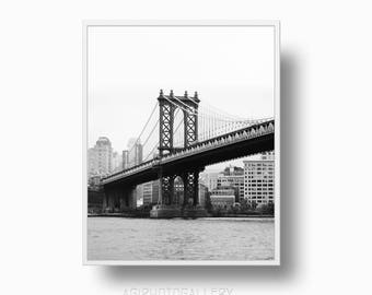 Manhattan Bridge print, Black and White New York Poster print, New York Manhattan Bridge Print, NYC printable Download, Brooklyn Print