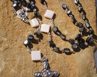 Gray Shell Mother Of Pearl Madonna and Child Rosary Prayer Beads, Catholic Gift, OOAK Rosary, Wedding, First Communion, Confirmation