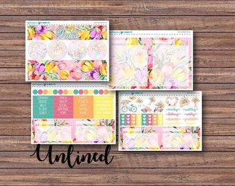 Tulips Notes Page Kit | Erin Condren Planner Stickers | Horizontal & Vertical | Monthly Notes Page