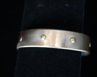Modern Industrial 925 Silver Bronze Flexible Cuff Bracelet