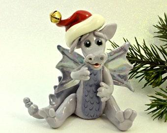 Dragon PORCELAIN Christmas Ornament Figurine Santa Hat OOAK