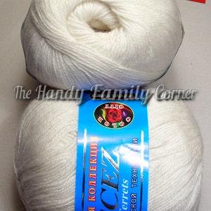 Dog hair yarn. Doggy yarn. Yarn Pecez Ferrets. Dog Down yarn. Dog and Cashmere blend. Eco friendly dog hair yarn. Off white (201).