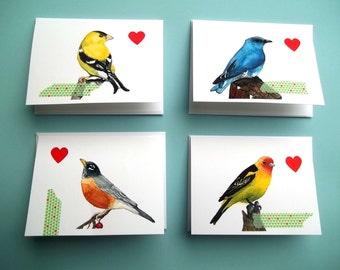 Set of 4 Bird Valentine's Watercolor Cards, Card Set, Watercolor Bird, Collage Card, Greeting Card, Bird Art, bird print, blank card
